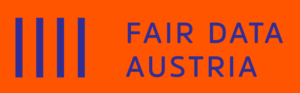 Logo Fair Data Austria königsblau auf orangerot RGB