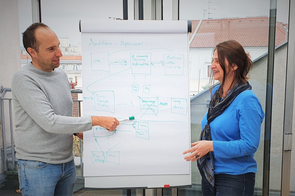 Tomasz Miksa and Florina Piroi standing in front of a flipchart